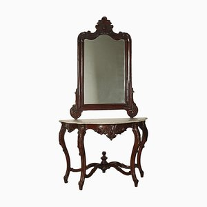 Luigi Filippo Console with Mirror in Walnut, Italy, 19th Century