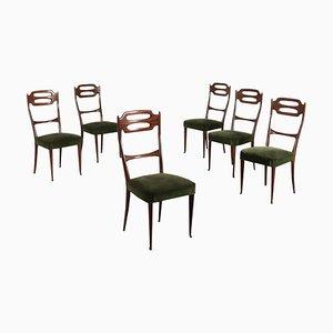 Italienische Mid-Century Stühle aus Buche & Samt