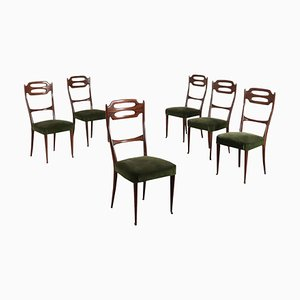 Mid-Century Italian Beech and Velvet Chairs