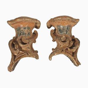 Unità di mensole dorate laccate, Italia, XVIII secolo, set di 2