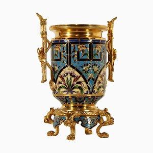 Macetero francés de bronce dorado con decoración esmaltada, siglo XIX