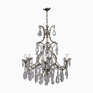 19th Century Italian Iron and Glass 6-Arm Chandelier