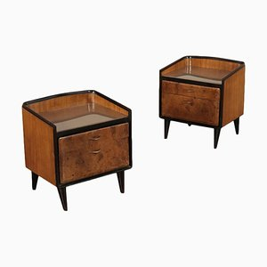 Mid-Century Italian Mahogany, Burl, and Back-Treated Glass Nightstands, Set of 2