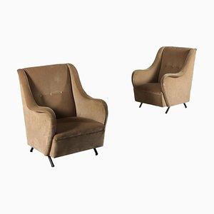 Italienische Sessel aus Metalldruckfedern & Samt, 1960er, 2er Set