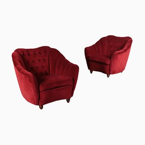 Italian Feather and Velvet Armchairs, 1950s, Set of 2