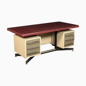 Italienischer Schreibtisch aus Metall, Skai & Glas, 1960er