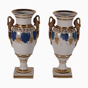Jarrones de porcelana, siglo XIX. Juego de 2