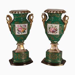 Jarrones de cerámica, siglo XIX. Juego de 2