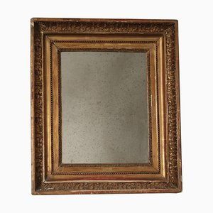 Espejo italiano de madera dorada, siglo XIX