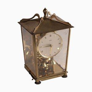 Reloj de mesa alemán de latón y vidrio de Auug.Schatz and Sohn, años 50