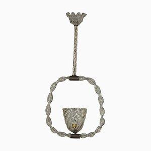 Lampada da soffitto vintage in vetro soffiato e ottone, Italia, anni '40