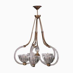 Lámpara de techo italiana vintage de vidrio y latón