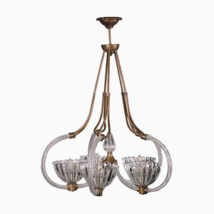Vintage Italian Glass and Brass Ceiling Lamp