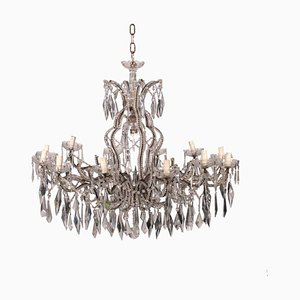 Antique Italian Iron and Glass 12-Arm Chandelier