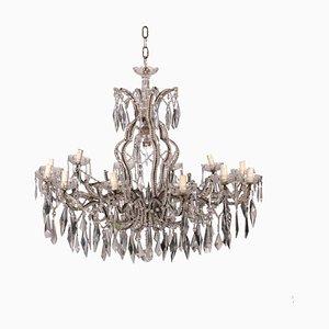 Lámpara de araña italiana antigua de hierro y vidrio con 12 brazos