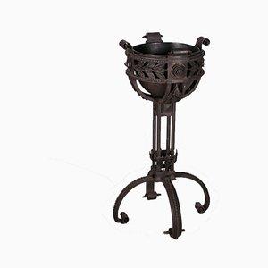 Vaso da fiori antico in ferro battuto e rame, Italia
