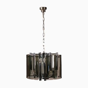 Chromed Steel and Glass Ceiling Lamp, 1970s