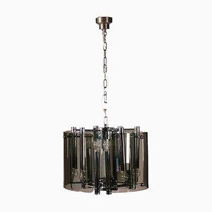Lámpara de techo de acero cromado y vidrio, años 70