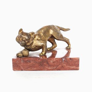 Bronze Cat Sculpture, 1920s