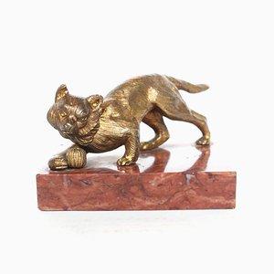 Bronze Katzen Skulptur, 1920er