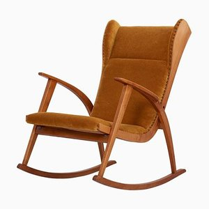 German Rocking Antimott Chair in Mohair Fabric by Wilhelm Knoll for Knoll Antimott, 1950s