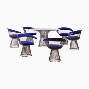 Set Table de Salle à Manger & Chaises en Métal par Warren Platner pour Knoll, 1960s, Set de 7