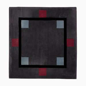 Square Geometric Wool Carpet by Ulf Moritz, Germany, 1990s