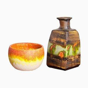 Italienische Keramik Vasen von Marcello Fantoni, 1950er, 2er Set