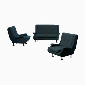 Italian Regent Settee and Lounge Chairs Set by Marco Zanuso for Arflex, 1960s, Set of 3