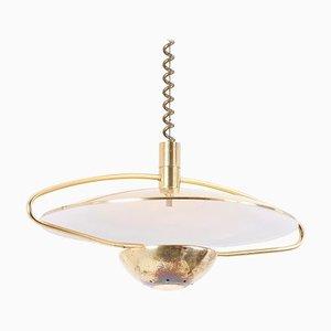 German Height Adjustable Brass Pendant Lamp, 1970s