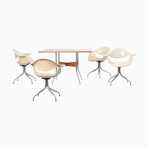 Swaged Leg Dining Table & Chairs by George Nelson for Herman Miller, 1950s, Set of 5