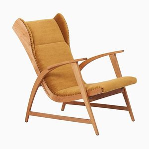German Mohair Fabric Lounge Chair from Knoll Antimott, 1950s