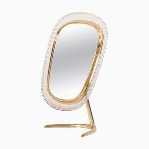 Brass Table Vanity Mirror from Vereinigte Werkstätten München, Germany, 1950s