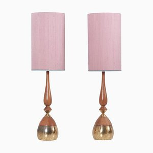 Brass and Walnut Table Lamps by Tony Paul for Westwood Lamps, USA, 1950s, Set of 2