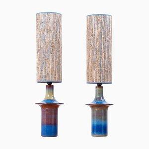 Dänische Blaue Keramik Tischlampen von Søholm, 1960er, 2er Set