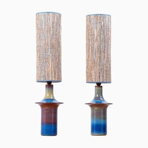 Danish Blue Ceramic Table Lamps from Søholm, 1960s, Set of 2