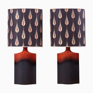 Lava Glasierte Keramik Tischlampen von Harry Clark für Kaiser Leuchten, 1960er, 2er Set