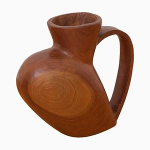 Large French Decorative Solid Wood Pitcher by Azrou, 1970s