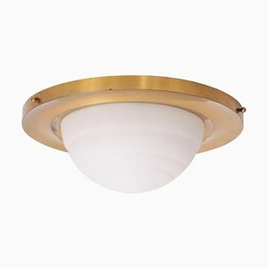 Flush Mount Ceiling Lamp in Brass and Glass by Jean Perzel, 1950s