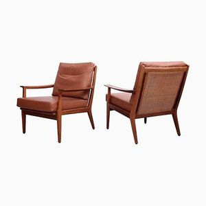Danish Wood Lounge Chairs in Leather and Cane, 1950s, Set of 2
