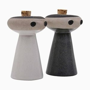 Mr. Salt and Mrs. Pepper by David Gill for Bennington Potters, 1960s, Set of 2