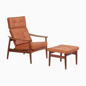 Poltrona reclinabile e ottomana reclinabile modello FD164 di Arne Vodder per France & Søn, Danimarca, anni '60