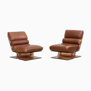 Space Age Lucite and Leather Lounge Chairs, 1960s, Set of 2