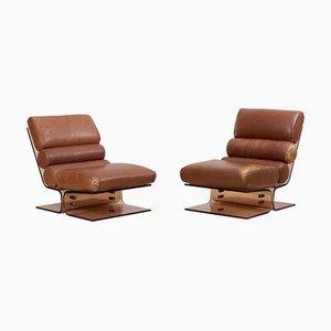 Space Age Sessel aus Plexiglas & Leder, 1960er, 2er Set
