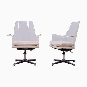 Lucite Swivel Chairs in the Style of Laverne, 1960s, Set of 2