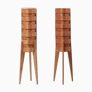 Lampade da terra tripode in legno di Hans-Agne Jakobsson per AB Ellysett, anni '60, set di 2