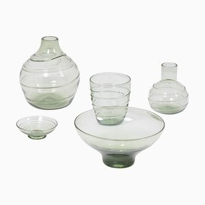Ribbon-Trailed Glass Vases and Bowls by Barnaby Powell for Whitefriars, 1930s, Set of 5