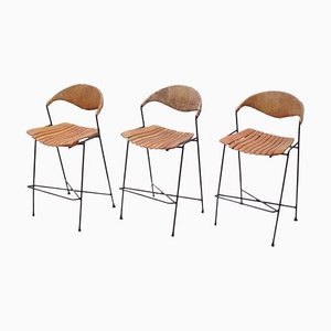 Wrought Iron Low Bar Stools by Arthur Umanoff, 1950s, Set of 3
