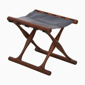Guldhoj Teak and Leather Folding Stool by Poul Hundevad for Vamdrup, 1950s