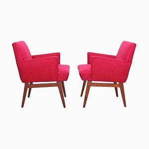 Mid-Century Oak Base Upholstered Armchairs, USA, 1950s, Set of 2